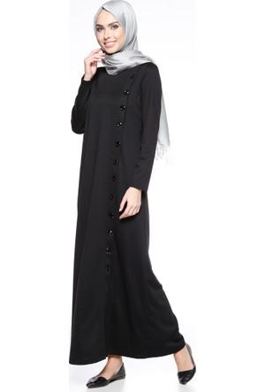 Düğme Detaylı Elbise - Siyah - Ginezza