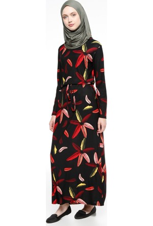 Desenli Elbise - Siyah - Dadali