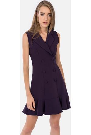İroni Kolsuz Blazer Elbise