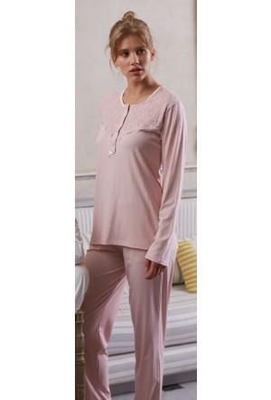 Feyza 3128 Welsoft Lizöslü 3'lü Kadın Pijama Takımı