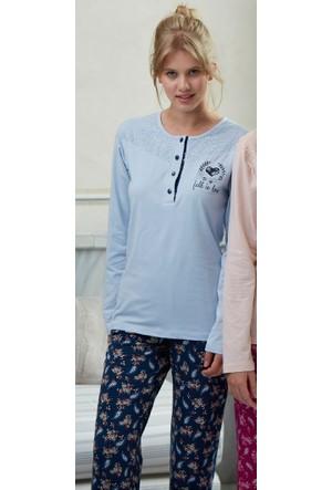 Feyza 3165 Sal Desen Hırkalı 3'lü Kadın Pijama Takımı