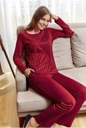 Eros ESK20504 O Yaka Düğmeli Penye Model Uzun Kol Kadın Pijama Takımı