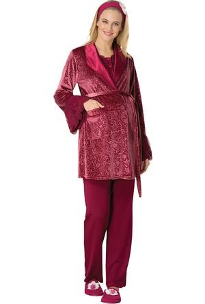 Şık Mecit 1704 Kadife Hamile Lohusa 3'lü Pijama Takımı