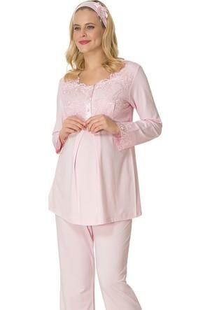 Şık Mecit 1715 Robası Çift Dantel Hamile Lohusa Pijama Takım