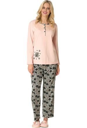 Şık Mecit 1760 Papatya Desen Uzun Kollu Mikro Kadın Pijama Takımı