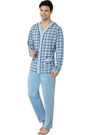 Şık Mecit 2710 Melanj Önden Açık Uzun Kollu Erkek Pijama Takımı