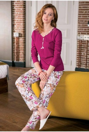 Yeni İnci BPJ1184 Süprem Uzun Kollu Kadın Pijama Takımı
