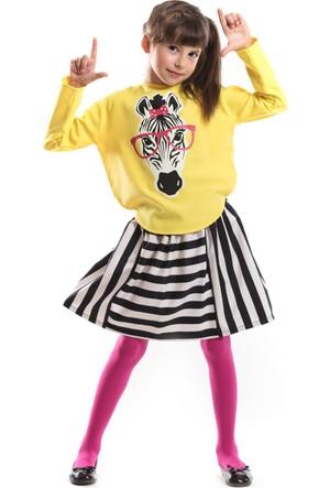 Mushi Zebra Çizgili Etek Takım