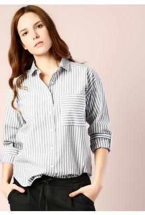 Colin's Antrasit Kadın Uzun Kollu Gömlek