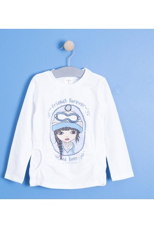 Soobe Kız Çocuk Uzun Kol T-Shirt Beyaz