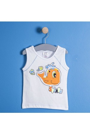 Soobe Erkek Bebek Kolsuz T-Shirt Beyaz