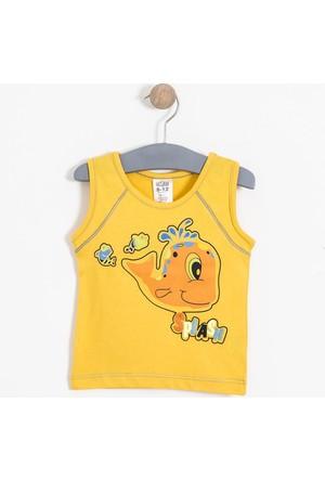 Soobe Erkek Bebek Kolsuz T-Shirt Koyu Sarı