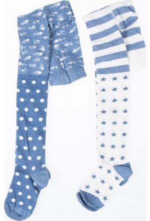 Soobe Kız Çocuk İkili Külotlu Çorap Mavi Melanj