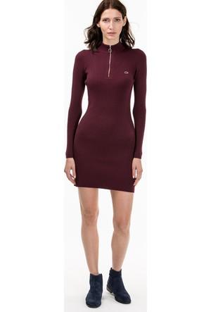 Lacoste Kadın Fermuar Detaylı Elbise Bordo EF1802.02F
