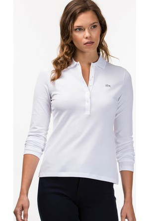 Lacoste Kadın Polo Yaka Sweatshirt Beyaz PF7841.001