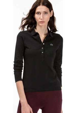 Lacoste Kadın Polo Yaka Sweatshirt Siyah PF7841.031