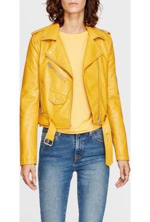 Mavi Kadın Fermuarlı Sarı Ceket