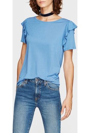 Mavi Kadın Fırfırlı Mavi T-Shirt