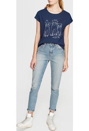 Mavi Kadın Baskılı Lacivert T-Shirt
