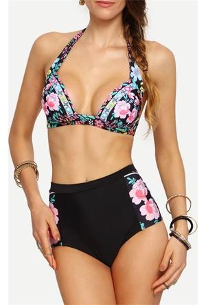 Yok Yok Çiçek Baskılı Destekli Bikini Seti