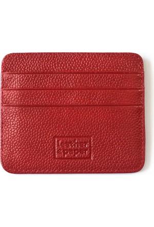 Leather & Paper Kırmızı Deri Kredi Kartlık