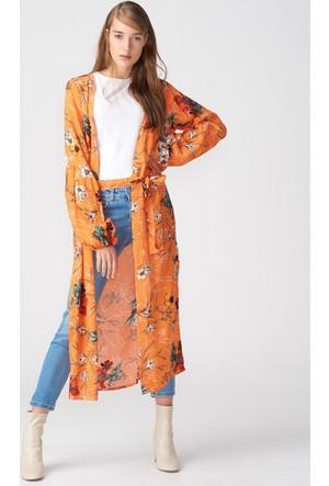 Dilvin 17168 Çiçek Desenli Uzun Kimono Turuncu