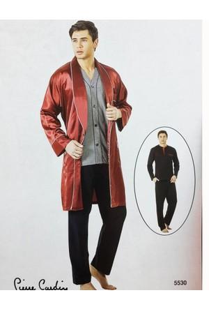 Pierre Cardin 5530 Erkek Çeyizlik Uzun Kollu Pijama Saten Ropdöşambır Set