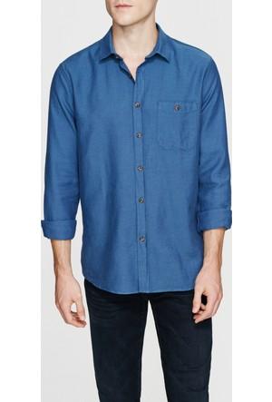 Mavi Erkek Çelik Mavi Cebi Düğmeli Gömlek