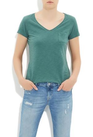 Mavi Su Yeşili Basic V Yaka T-Shirt
