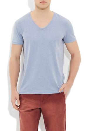Mavi Lacivert V Yaka T-Shirt