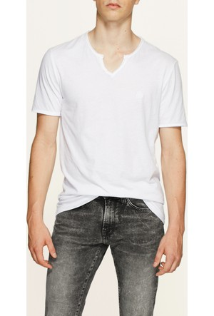 Mavi Beyaz Düğmeli Yaka T-Shirt