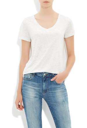 Mavi Kırık Beyaz V Yaka T-Shirt