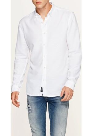 Mavi Erkek Cepsiz Beyaz Gömlek