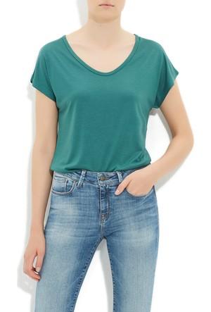 Mavi Su Yeşili Basic Kısa Kol T-Shirt