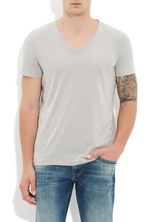 Mavi Gri V Yaka T-Shirt
