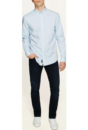 Mavi Açık Mavi Cepsiz Gömlek