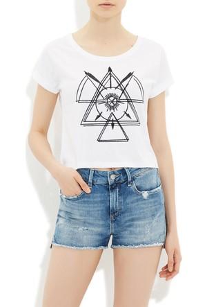 Mavi Beyaz Nakışlı T-Shirt