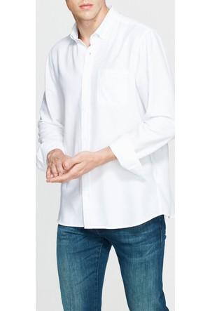Mavi Beyaz Cebi Düğmeli Gömlek