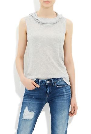 Mavi Gri Kapüşonlu T-Shirt