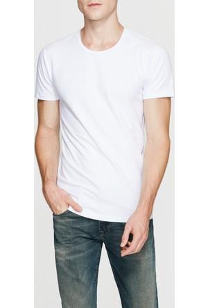 Mavi Beyaz Streç T-Shirt