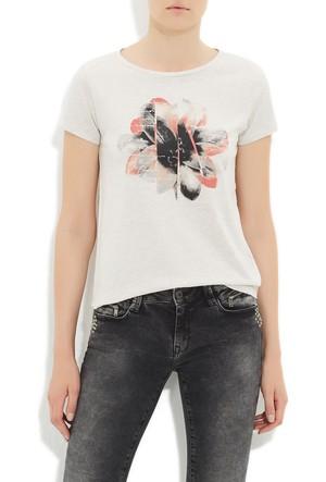 Mavi Bej Çiçek Baskılı T-Shirt