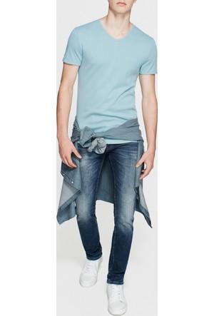Mavi V Yaka Mavi Basic T-Shirt