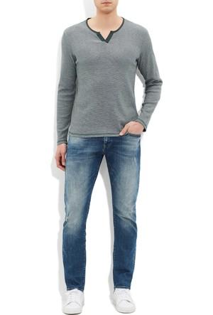 Mavi Erkek Kesik Yaka T-Shirt