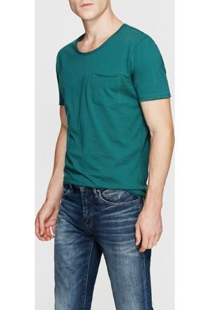 Mavi Koyu Yeşil Basic T-Shirt
