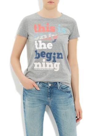 Mavi Gri Baskılı T-Shirt