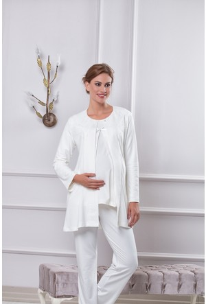 Tuba Bayan Hamile Üçlü Pijama Takım 7552