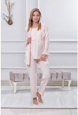 Tuba Bayan Hamile Lohusa Üçlü Pijama Takım 7553