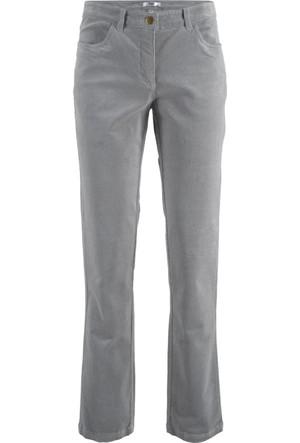Bpc Bonprix Collection Kadın Gri Streç Kadife Pantolon