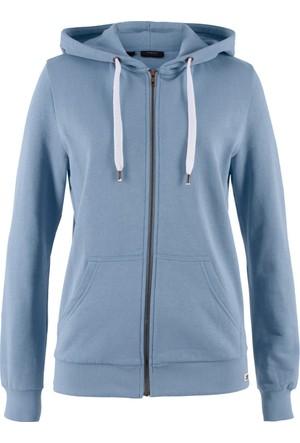 Bpc Bonprix Collection Kadın Mavi Kırçıllı Sweat Ceket