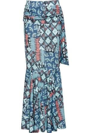 Bodyflirt Kadın Boutique Mavi Desenli Etek